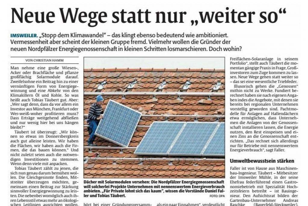 Presseartikel NordPfalzEnergie